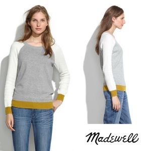 Madewell Dorian colorblock pullover waffle gold